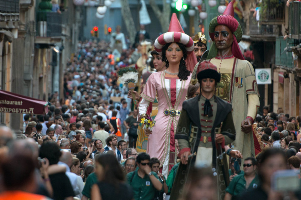 Giant parade during Barcelona's Festival La Mercè