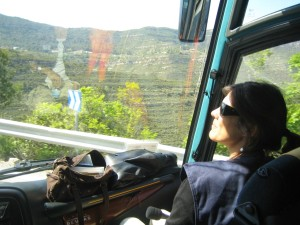 Cristina Mila tour guide at the bus of Barcelona Guide Bureau Daily Sightseeing Tours going towards Montserrat (1)