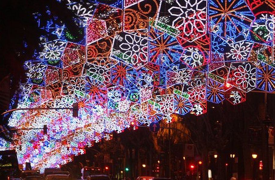Christmas lights in Barcelona. Diagonal.