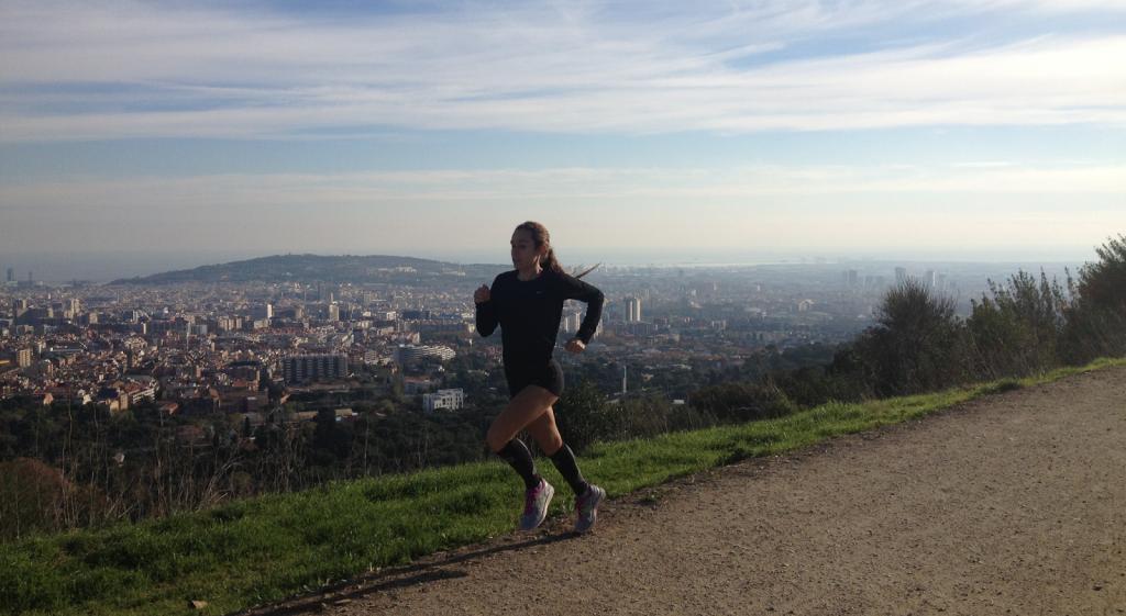 Running along Carretera de Les Aigues