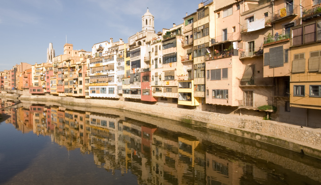 Girona colourful houses over the onyar river