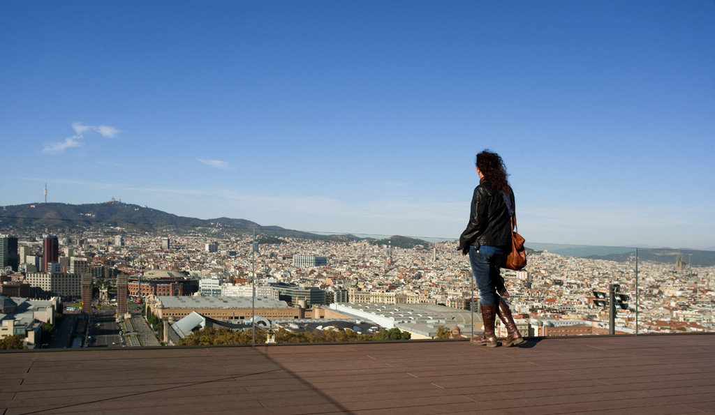 views from mnac museum in montjuic - barcelona