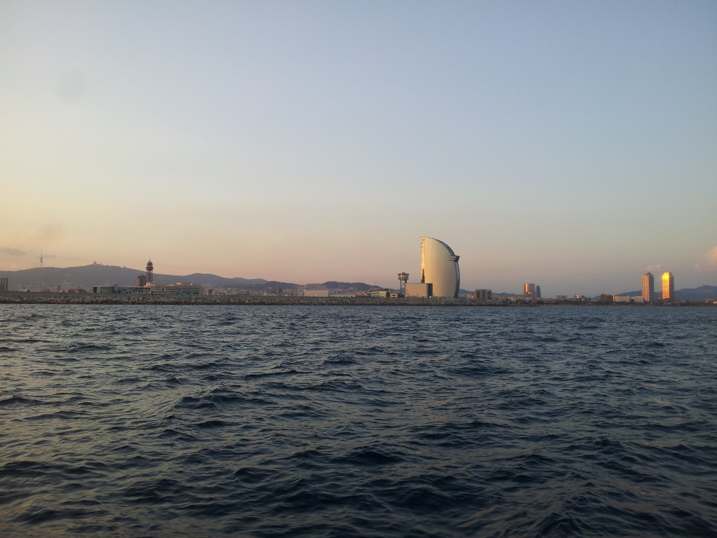 Skyline of Barcelona from the sea