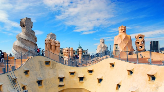 Great views and amazing chimneys at the rooftop of la Pedrera, Casa Mila by Gaudi