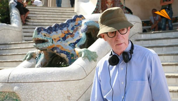 Woody Allen in Park Güell - shooting Vicky Cristina Barcelona