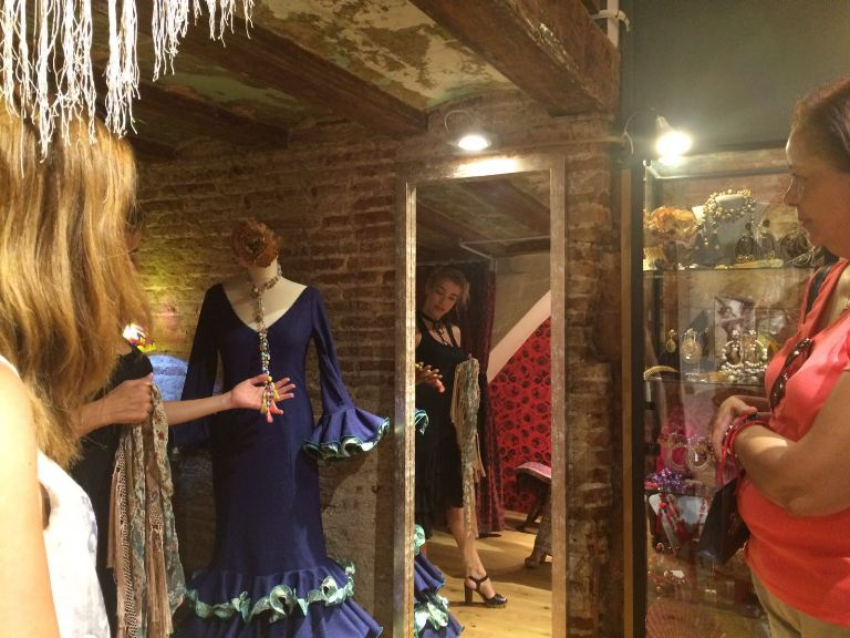 Designer explaining her flamenco collection