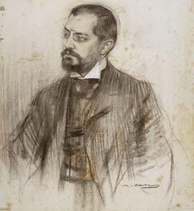 Josep Puig i Cadafalch, famous portrait by Ramón Casas