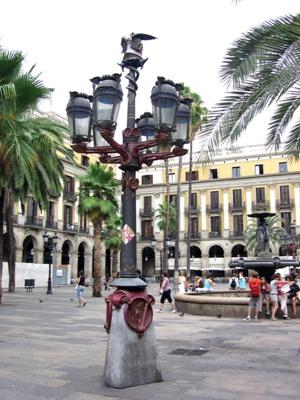 Gaudí's lamps in Plaça Reial