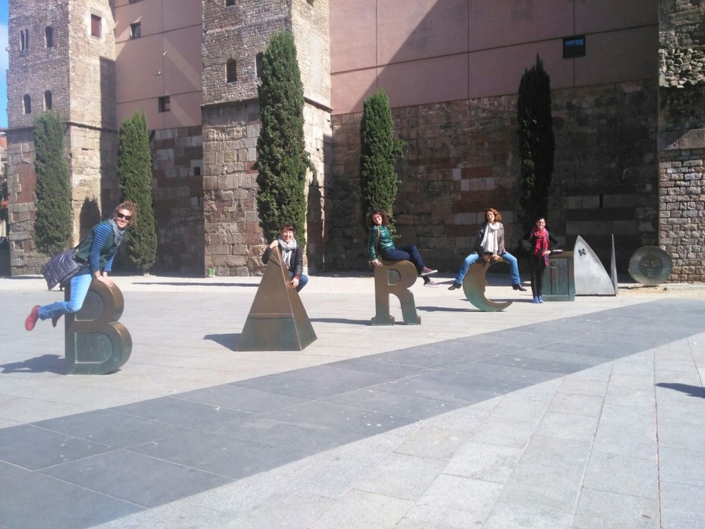 Our guides enjoying in the Portal del Bisbe