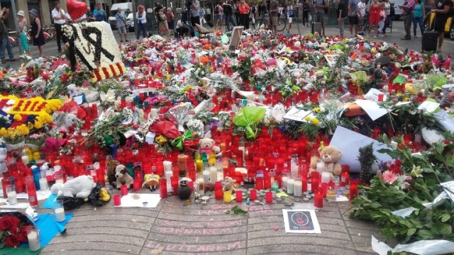 Flowers and candles after terrorist attack in Ramblas