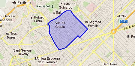 Where is located the area of Gràcia?