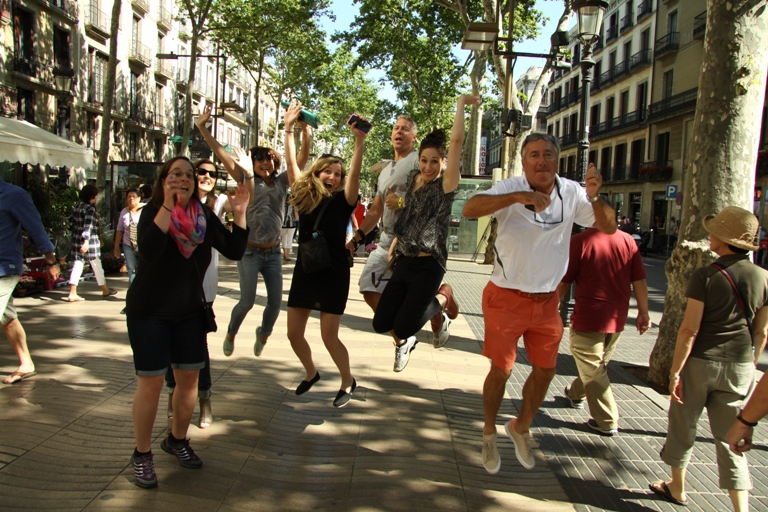 Our customers in a tour in Las ramblas of Barcelona