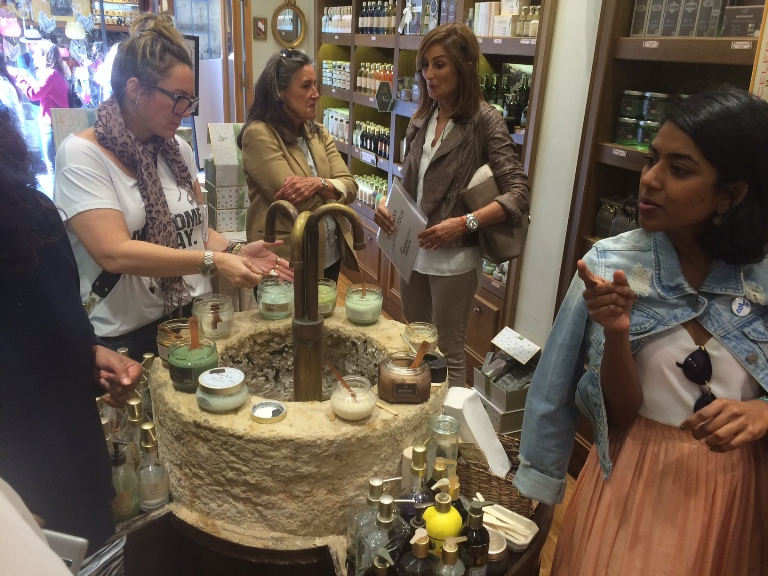 Shop of natural soaps during a shopping tour