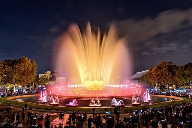 Magic fountain show in Plaça Espanya, Barcelona