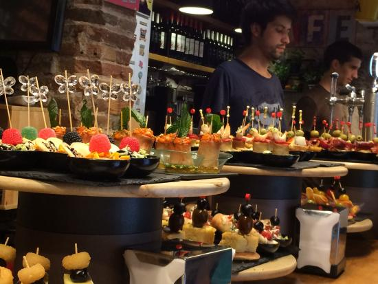 Tapas at the Blai street in Barcelona