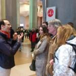 A guide during a tour inside Sagrada Familia