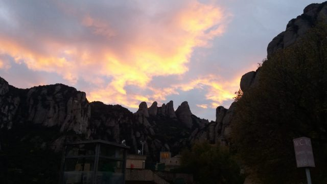Sunset in Montserrat mountain